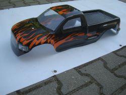 Karosserie Monstertruck 1:5 VRX Racing Radstand ca 50 cm Länge 75c  Breite 28 cm Schwarz Orange